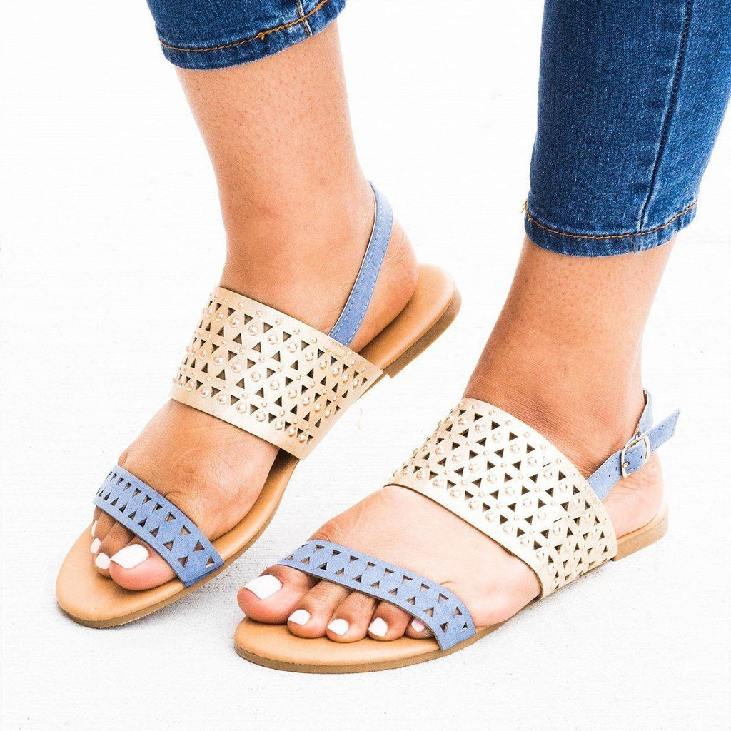 Womens Two-Toned Laser Cut Fashion Sandals - Qupid Shoes