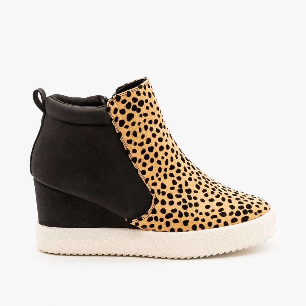Womens Two-Toned Sneaker Wedges - Qupid Shoes - Tan Black Leopard / 5