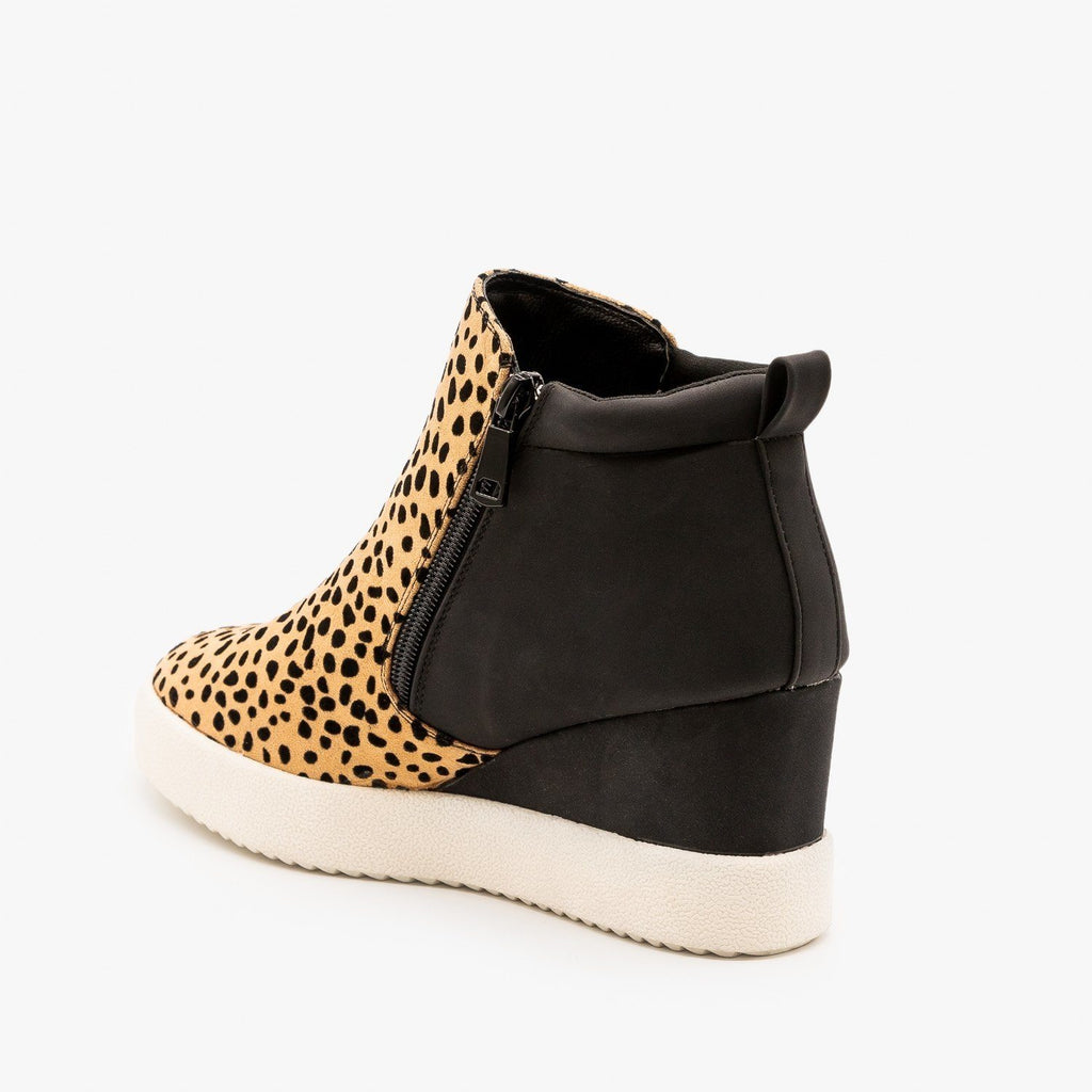 Womens Two-Toned Sneaker Wedges - Qupid Shoes