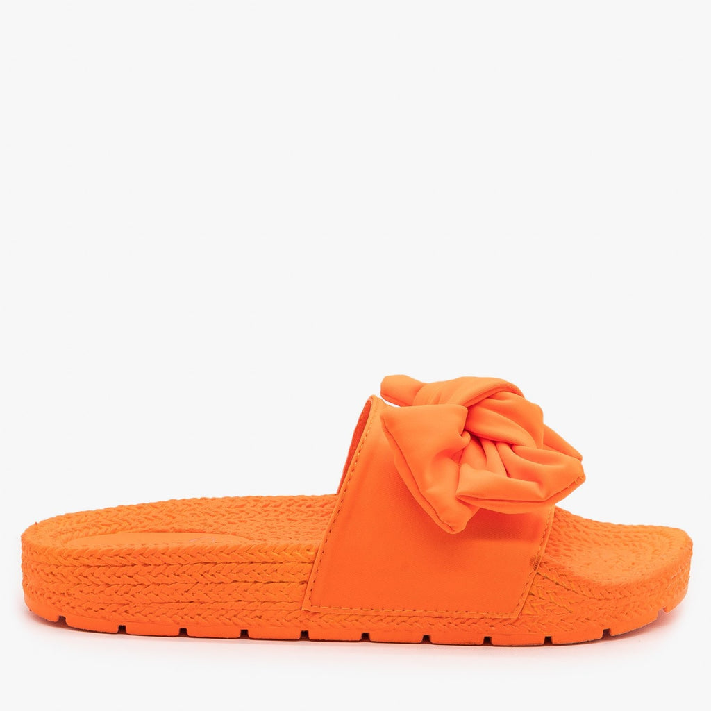 Womens Ultra Neon Bow Slides - Mata - Orange / 5