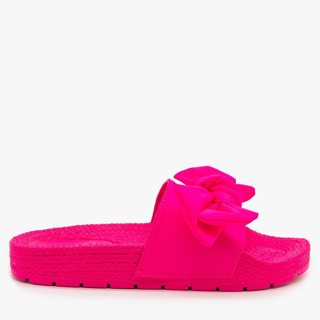 Womens Ultra Neon Bow Slides - Mata - Fuchsia / 5