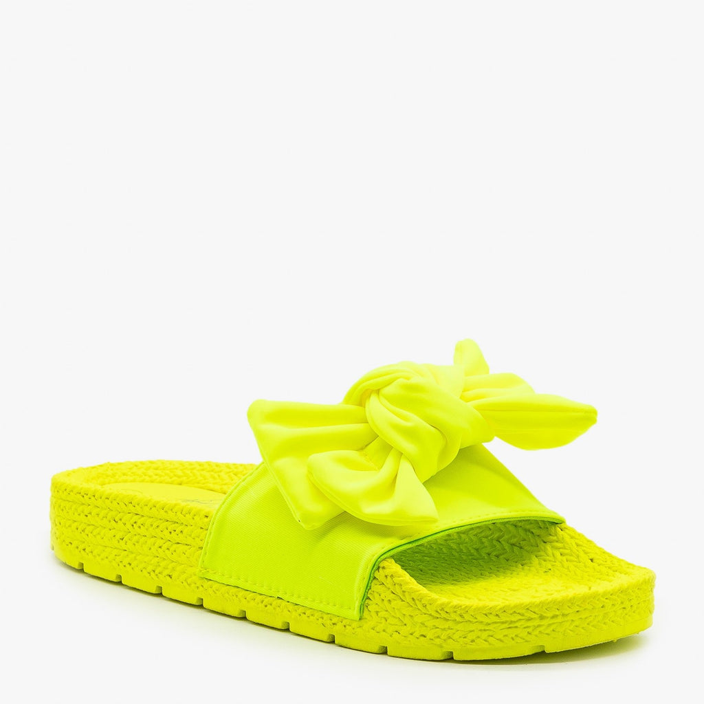 Womens Ultra Neon Bow Slides - Mata