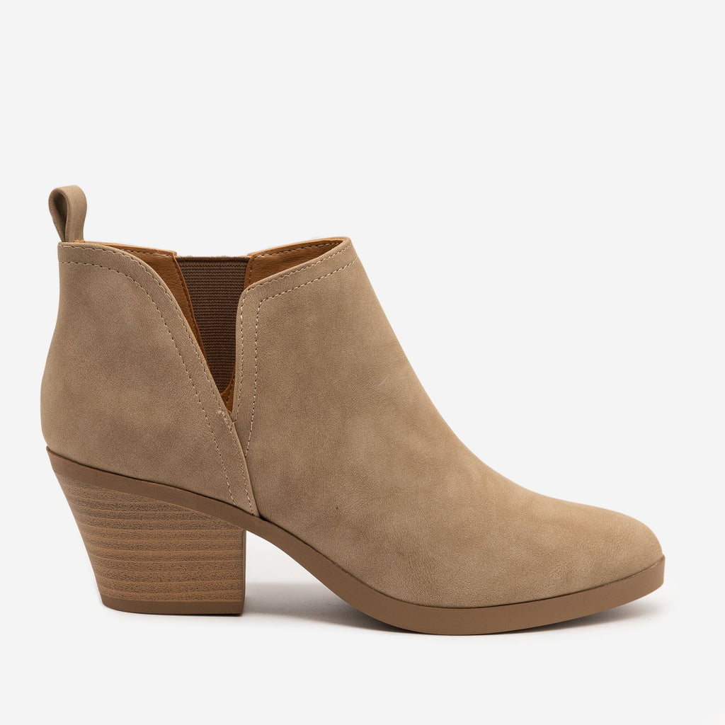 Women's V-Cut Block Heel Booties - Soda Shoes - Light Taupe / 5