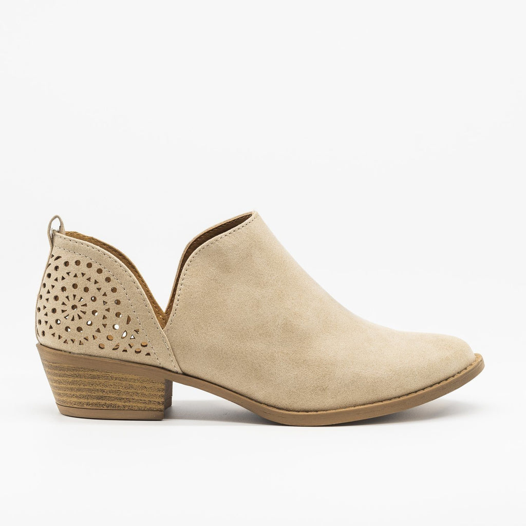 Womens V-Cut Fashion Booties - Qupid Shoes - Taupe / 5