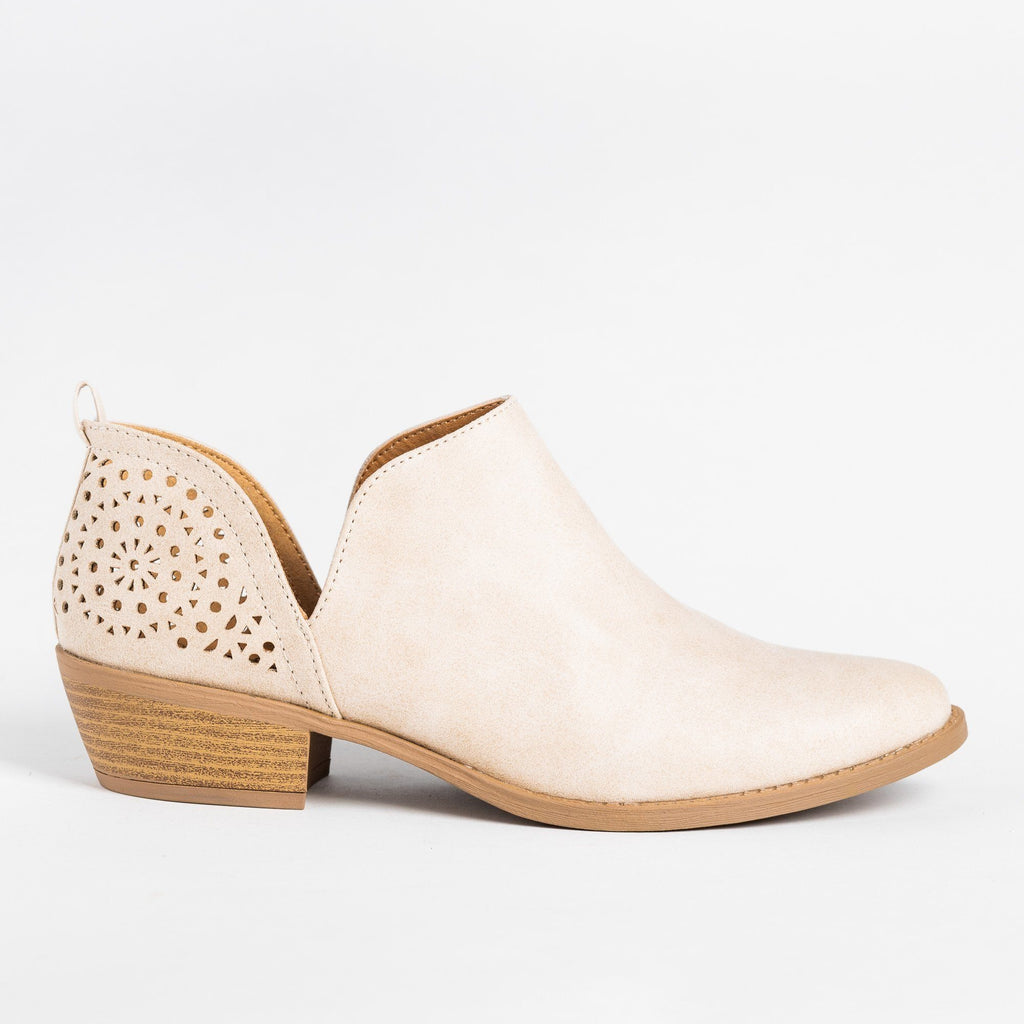 Womens V-Cut Fashion Booties - Qupid Shoes - Beige / 6