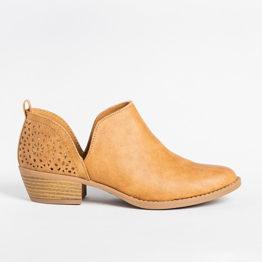 Womens V-Cut Fashion Booties - Qupid Shoes - Camel / 6