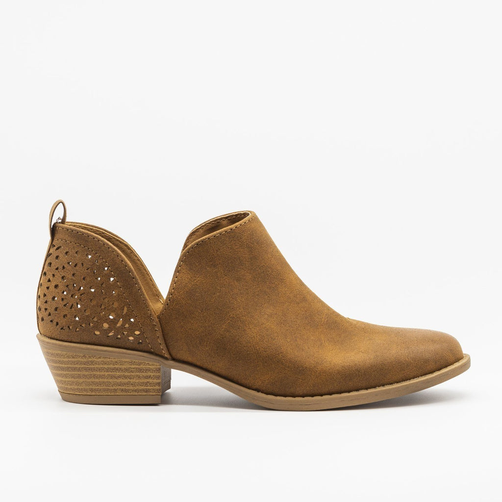 Womens V-Cut Fashion Booties - Qupid Shoes - Maple / 5