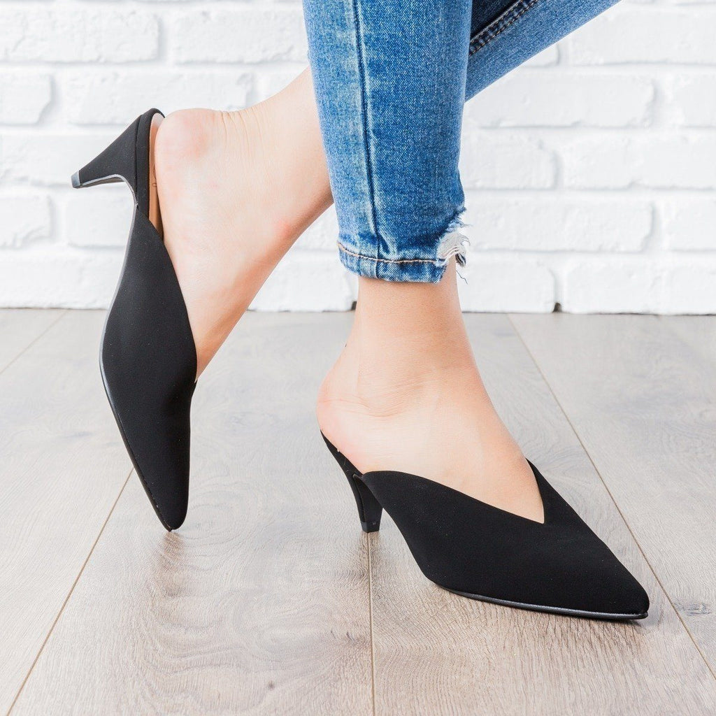 Womens V-Cut Kitten Heels - Delicious Shoes