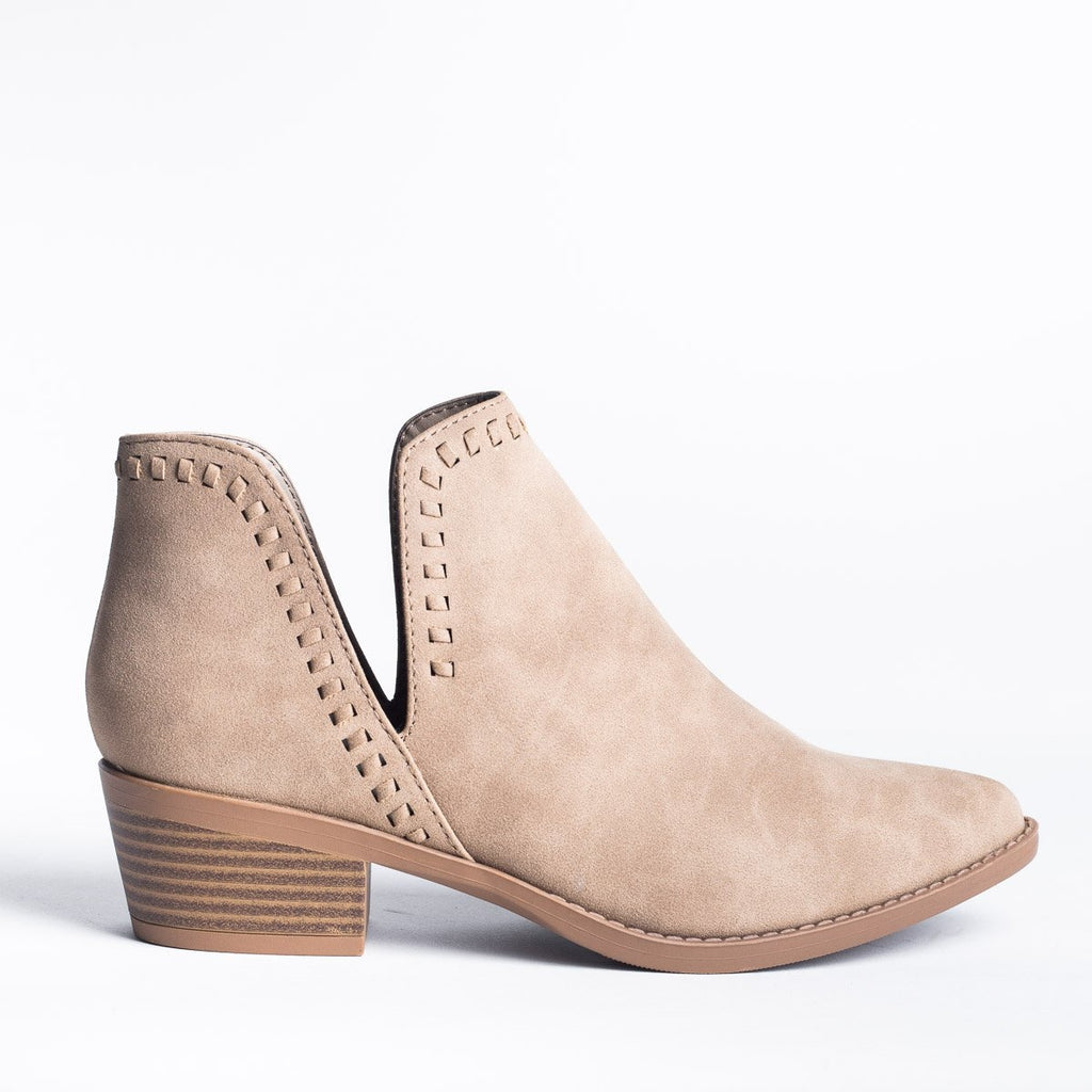Womens V-Cut Stitched Ankle Booties - Soda Shoes - Light Taupe / 5