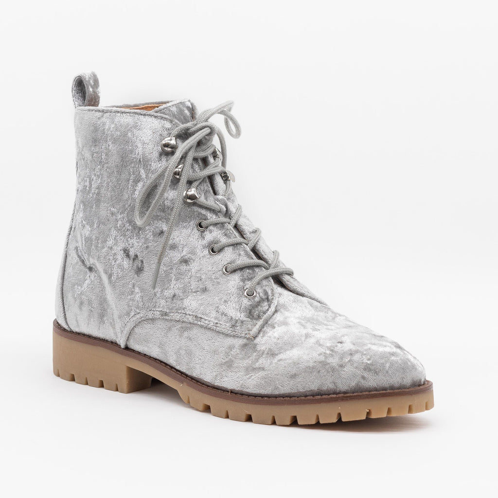 Womens Velvet Fashion Lace-Up Combat Boots - Qupid Shoes - Light Gray / 5