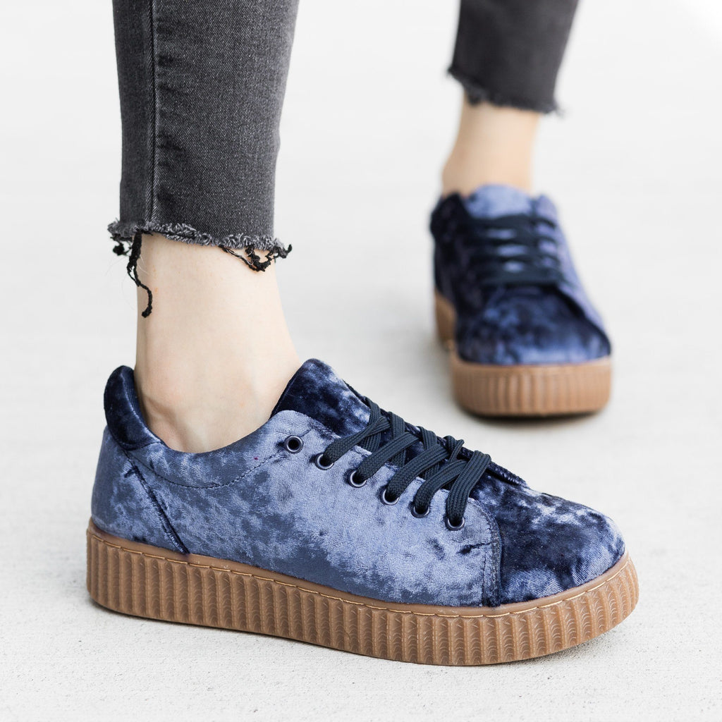 Womens Velvet Lace-Up Fashion Sneakers - Qupid Shoes