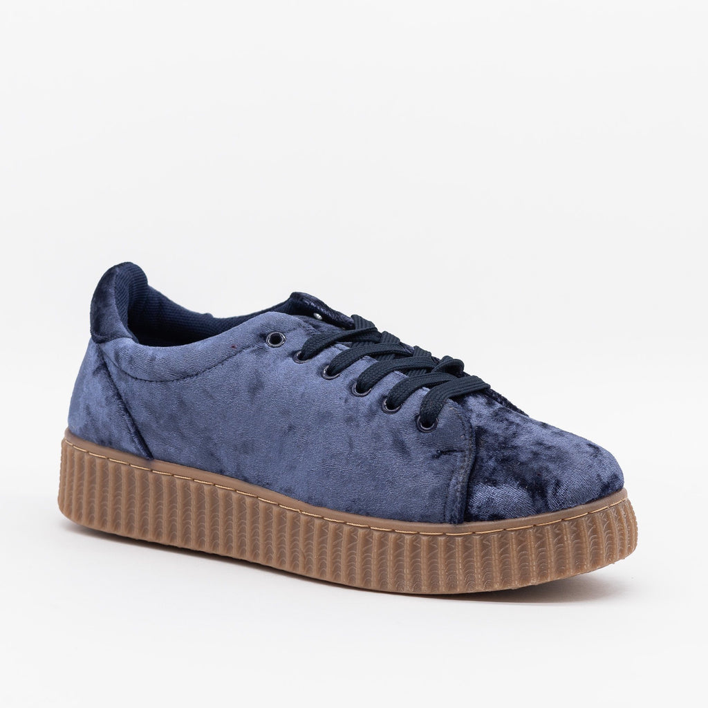 Womens Velvet Lace-Up Fashion Sneakers - Qupid Shoes - Dark Blue / 5