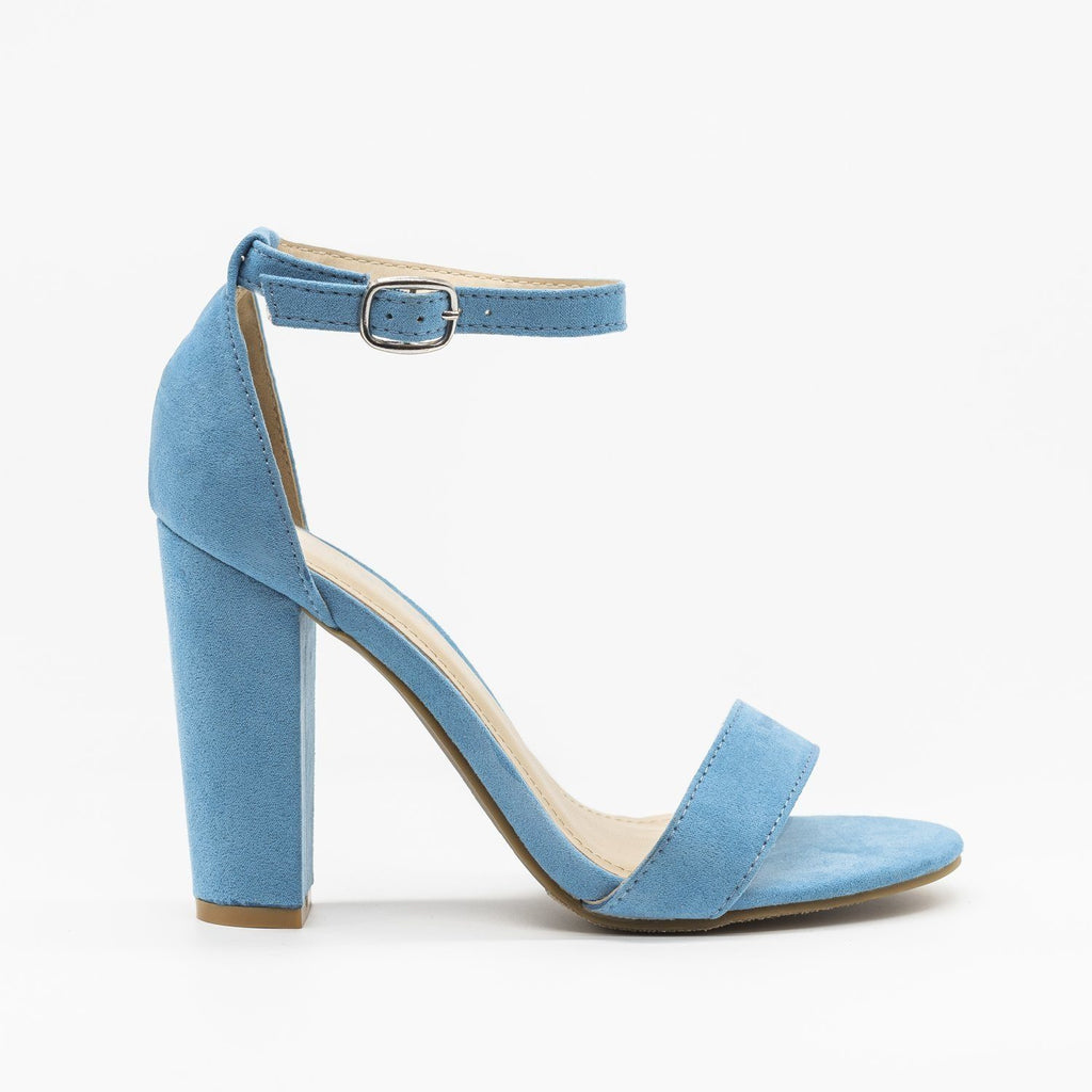 Womens Vibrant Ankle Strap Chunky Heels - Qupid Shoes - Light Blue / 5