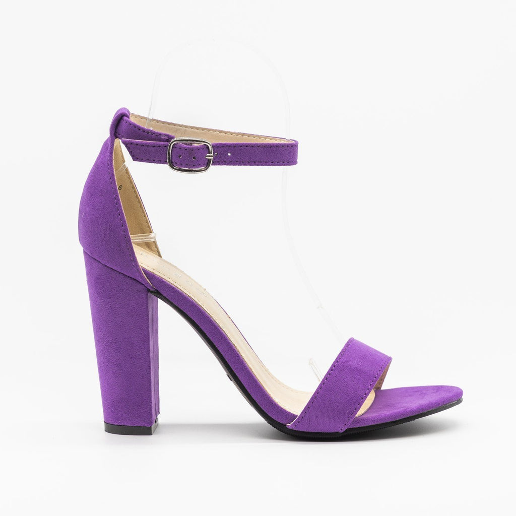 Womens Vibrant Ankle Strap Chunky Heels - Qupid Shoes - Purple / 5