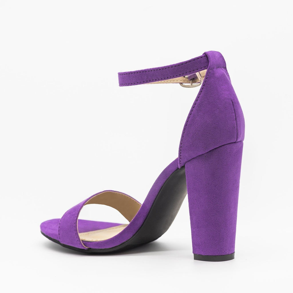 Womens Vibrant Ankle Strap Chunky Heels - Qupid Shoes