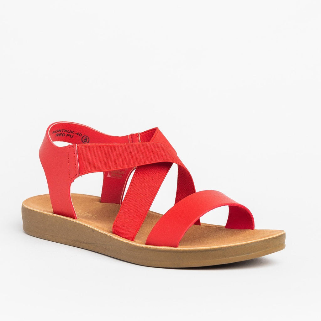 Womens Vibrant Stretchy Comfort Sandals - Bella Marie - Red / 5