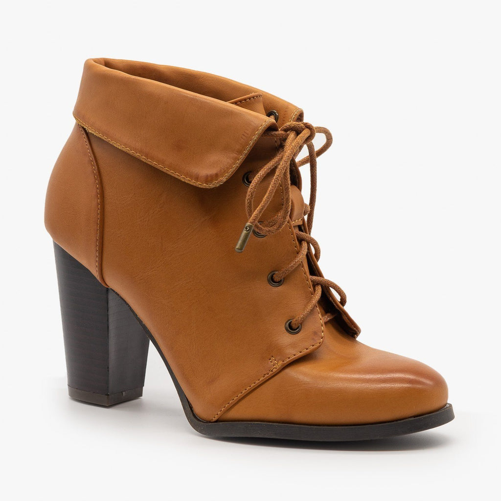 Womens Vintage Inspired Ankle Booties - Bamboo Shoes - Tan / 5
