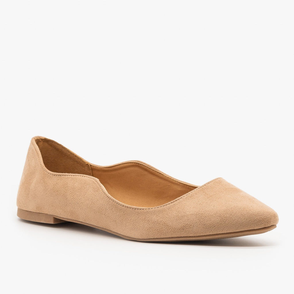 Womens Wavy Almond Toe Ballet Flats - Qupid Shoes - Warm Taupe / 5