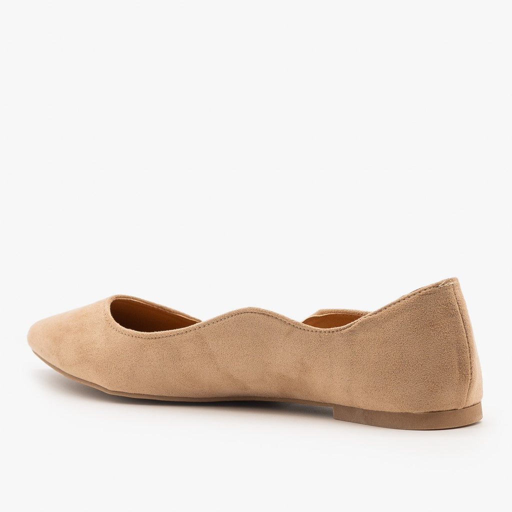 Womens Wavy Almond Toe Ballet Flats - Qupid Shoes