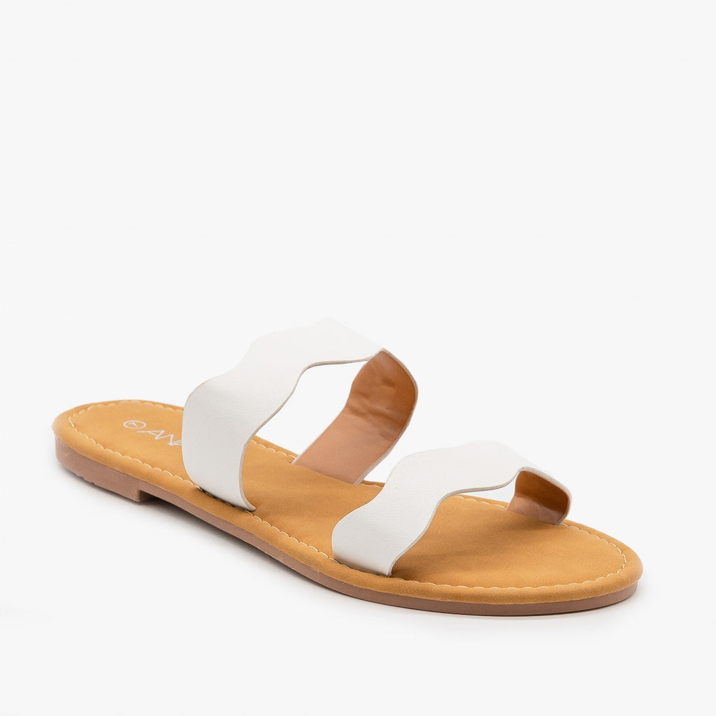 Womens Wavy Double Strap Sandals - Anna Shoes - White / 5