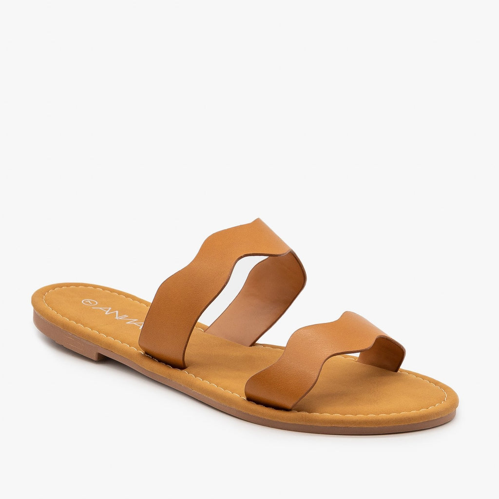 Womens Wavy Double Strap Sandals - Anna Shoes - Tan / 5