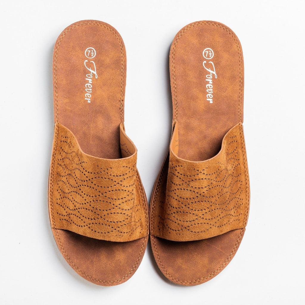 Womens Wavy Laser Cut Slip-On Sandals - Forever - Tan / 5