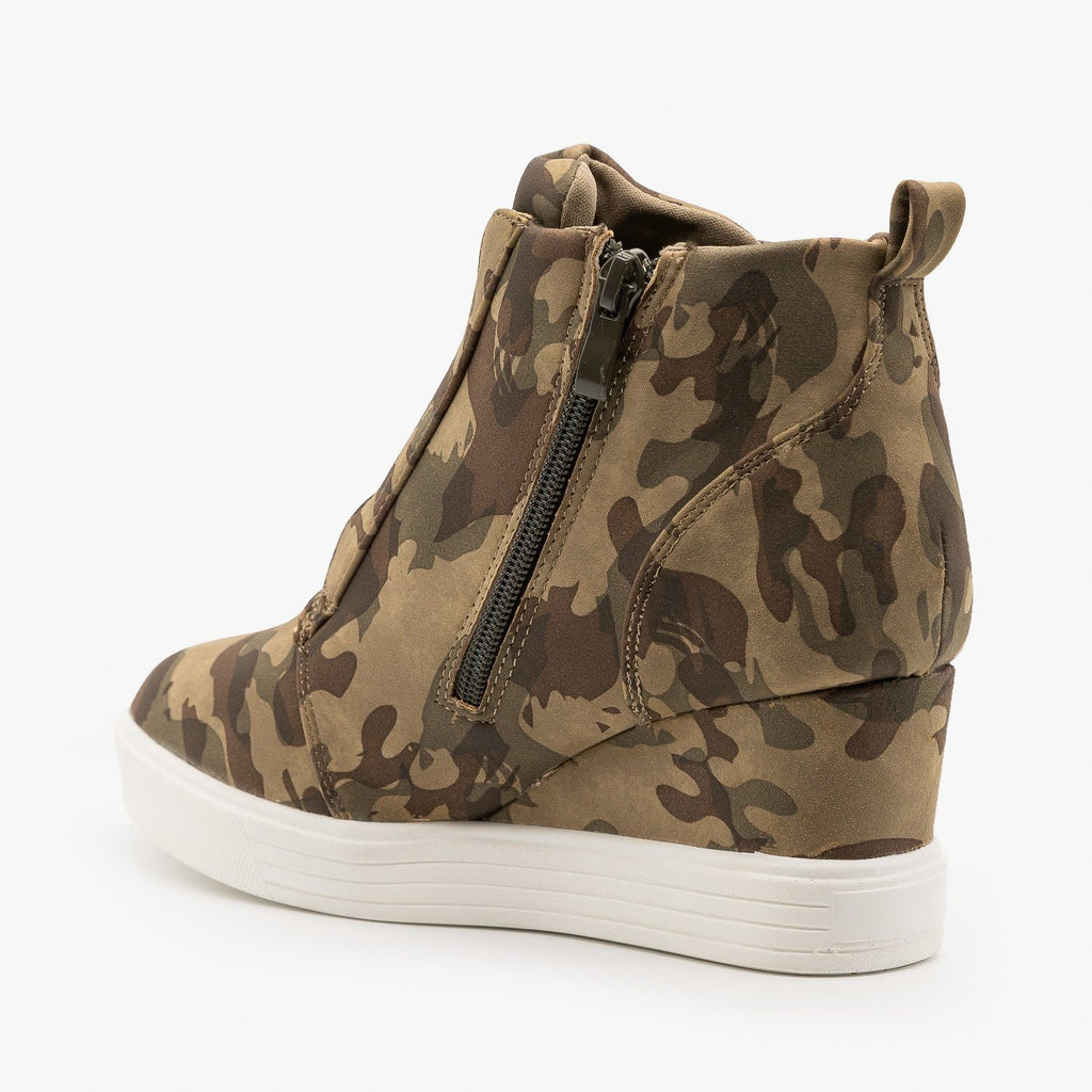 Womens Wedge Heel Camo Sneakers - Top Moda