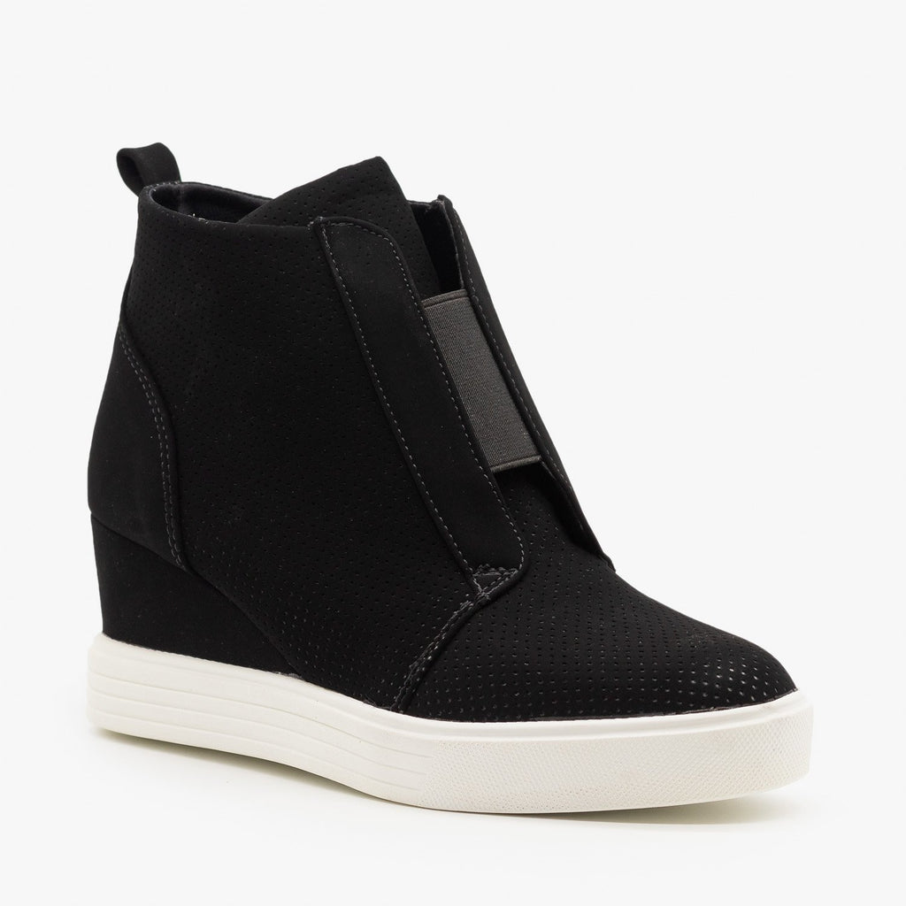 Womens Wedge Heel Sneakers - Top Moda - Black / 5