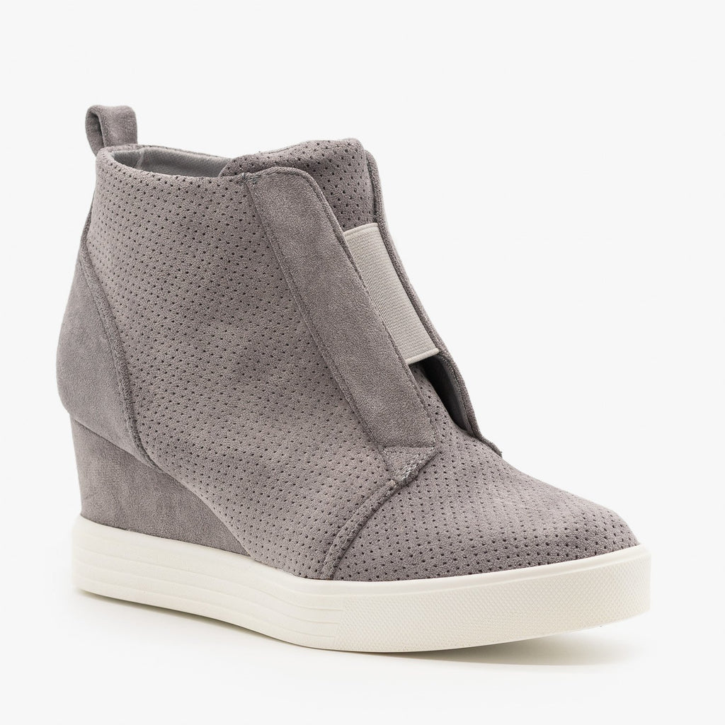 Womens Wedge Heel Sneakers - Top Moda - Gray / 5