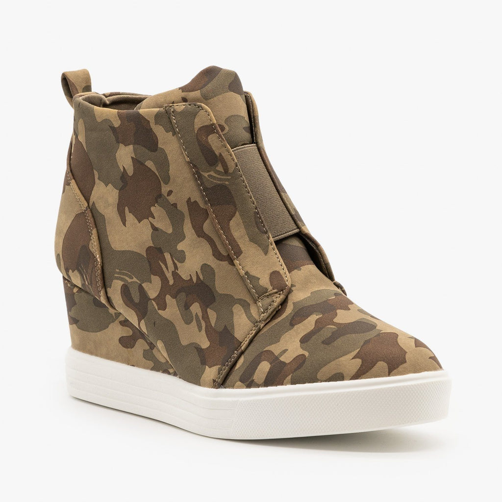 Womens Wedge Heel Camo Sneakers - Top Moda - Camo / 5