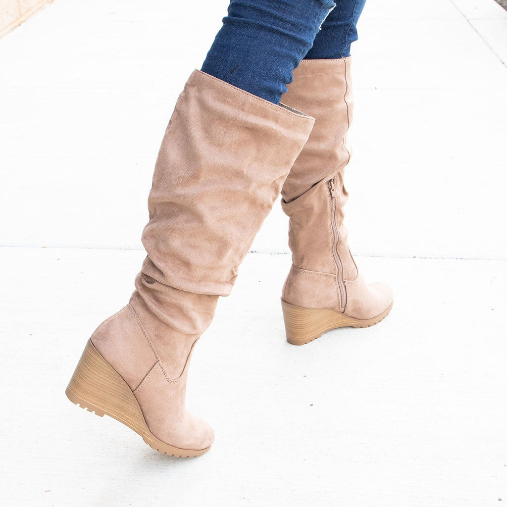 Women's Wedged Slouch Boots - Soda Shoes