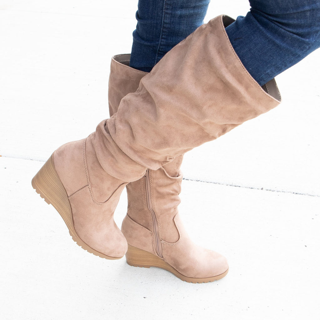 Women's Wedged Slouch Boots - Soda Shoes - Taupe / 5