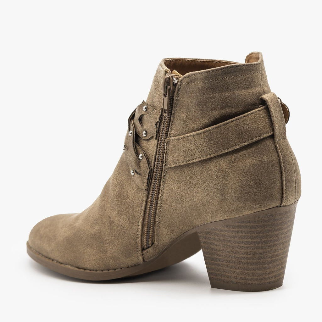 Womens Western Braided Chunky Heel Booties - Qupid Shoes