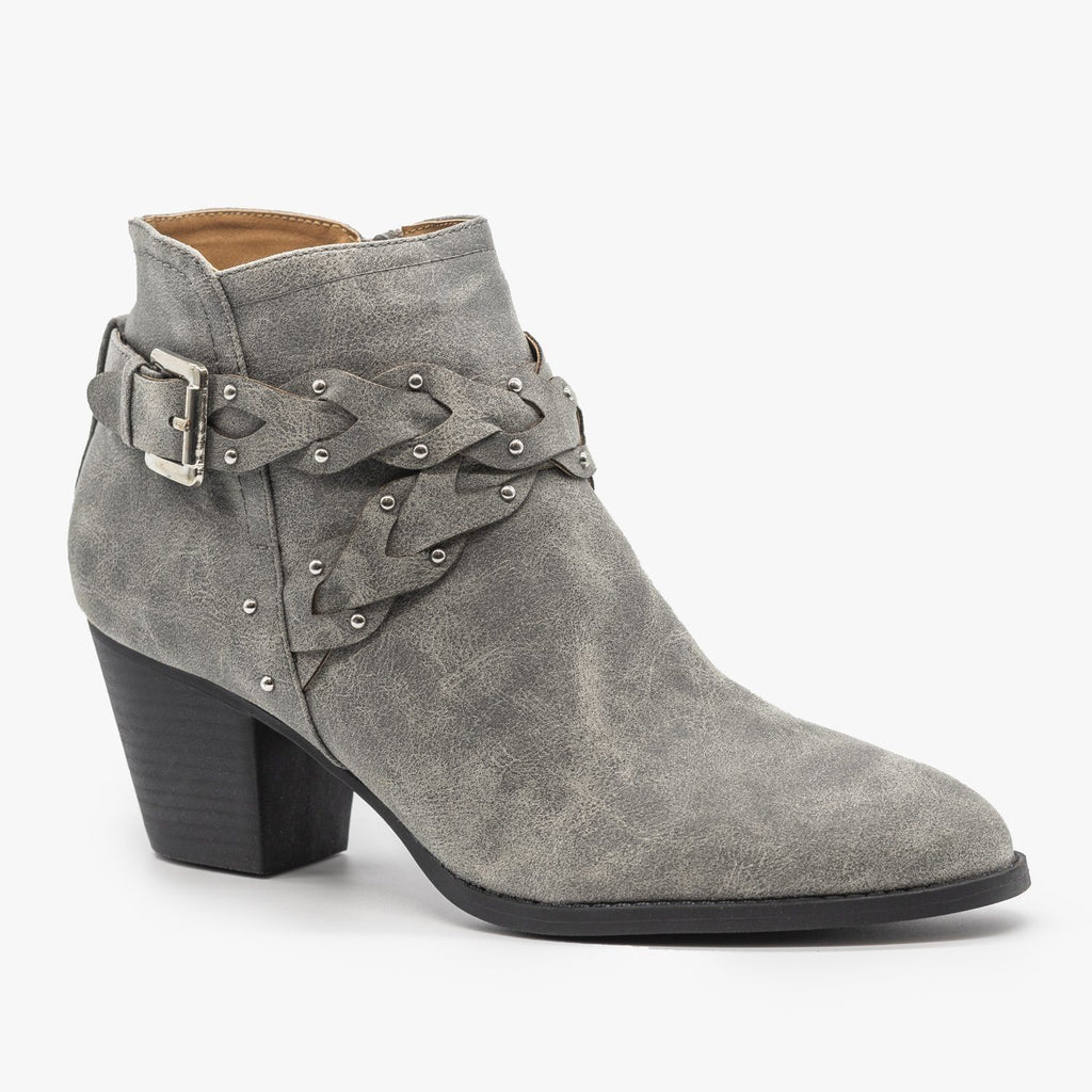Womens Western Braided Chunky Heel Booties - Qupid Shoes - Gray / 5