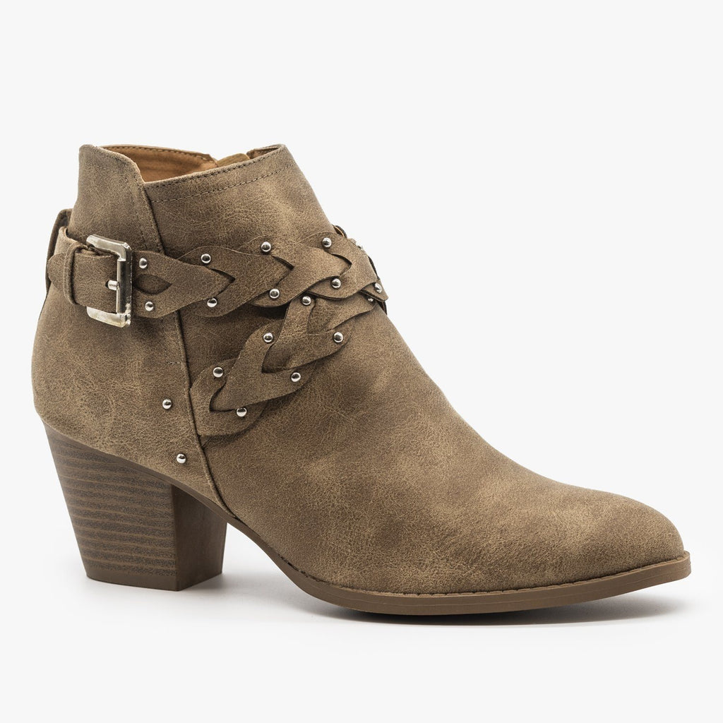 Womens Western Braided Chunky Heel Booties - Qupid Shoes - Taupe / 5