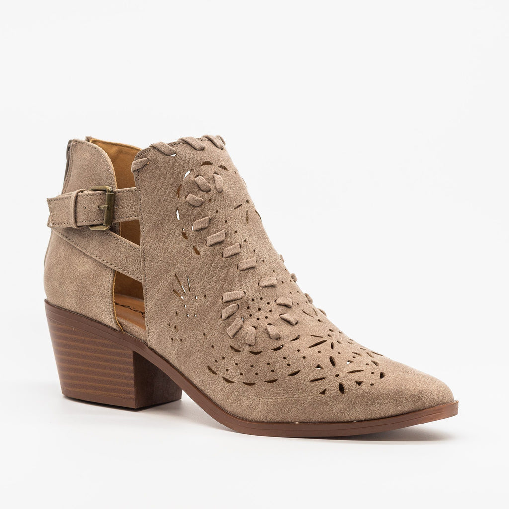 Womens Western Chic Ankle Booties - Qupid Shoes - Taupe / 5