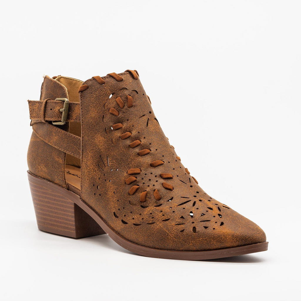 Womens Western Chic Ankle Booties - Qupid Shoes - Cognac / 5