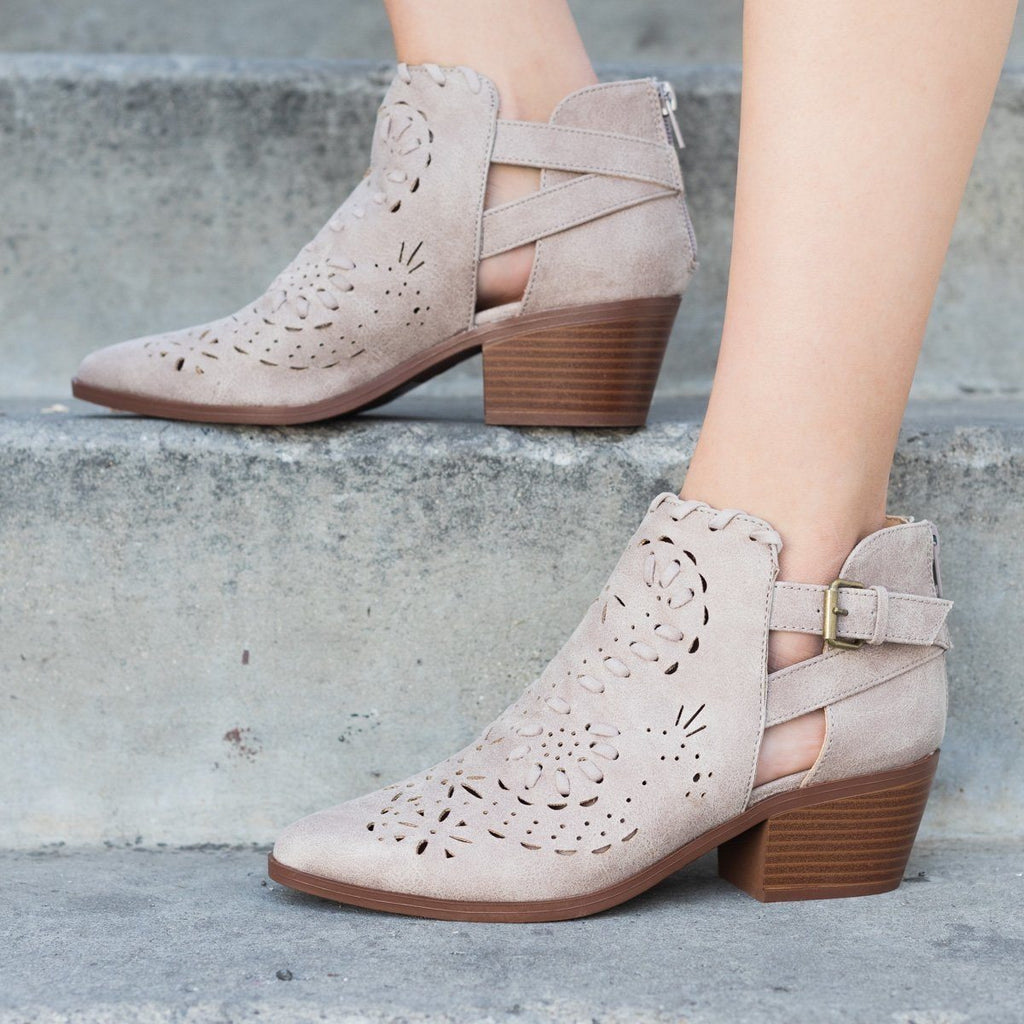 Womens Western Chic Ankle Booties - Qupid Shoes