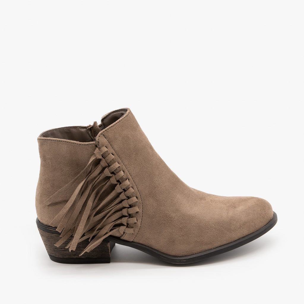 Womens Western Fringe Booties - Bamboo Shoes - Taupe / 5