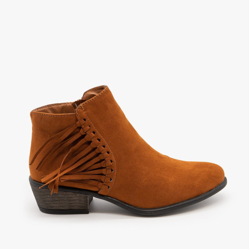 Womens Western Fringe Booties - Bamboo Shoes - Chestnut / 5