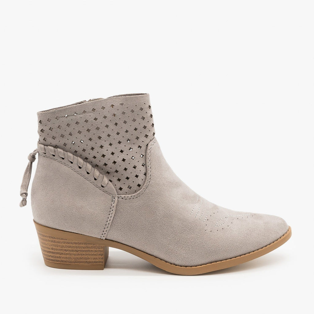 Womens Western Laser-Cut Booties - Soda Shoes - Light Gray / 5