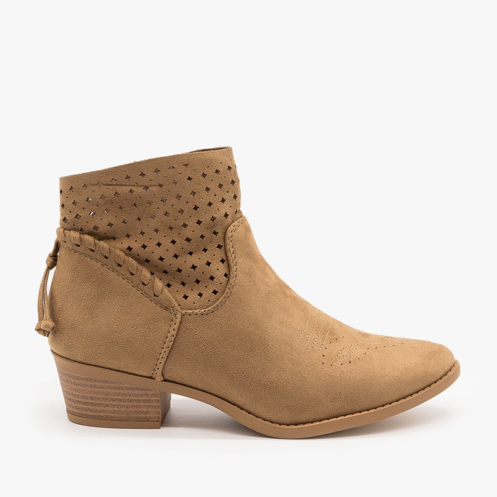 Womens Western Laser-Cut Booties - Soda Shoes - Light Taupe / 5