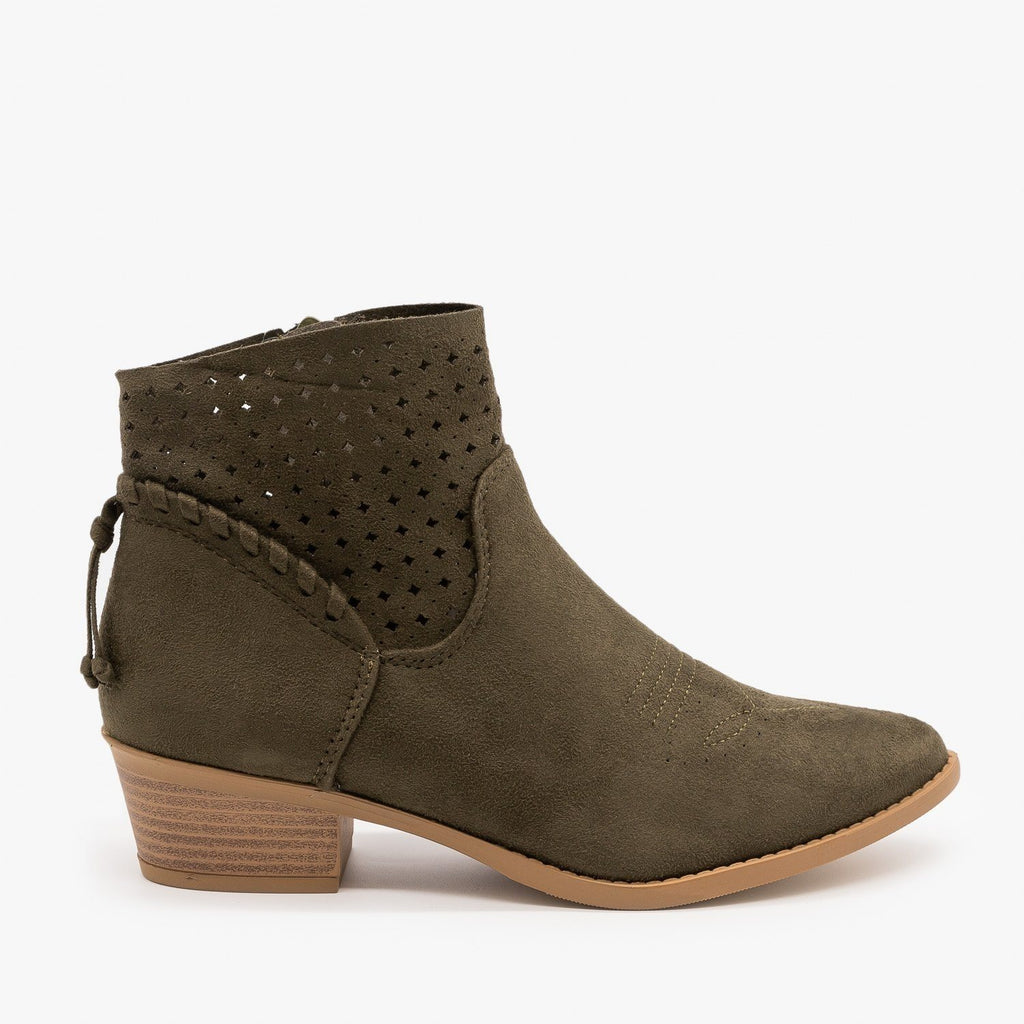 Womens Western Laser-Cut Booties - Soda Shoes - Khaki / 5