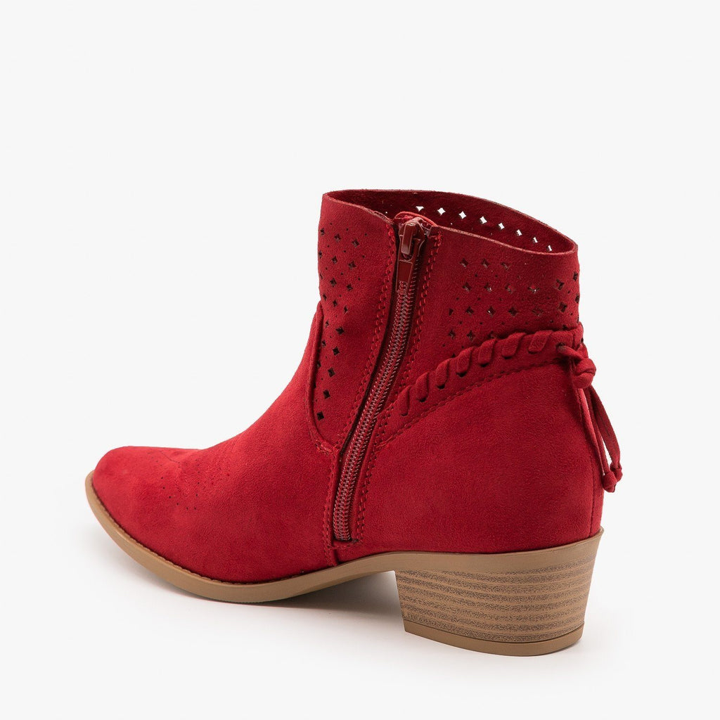 Womens Western Laser-Cut Booties - Soda Shoes