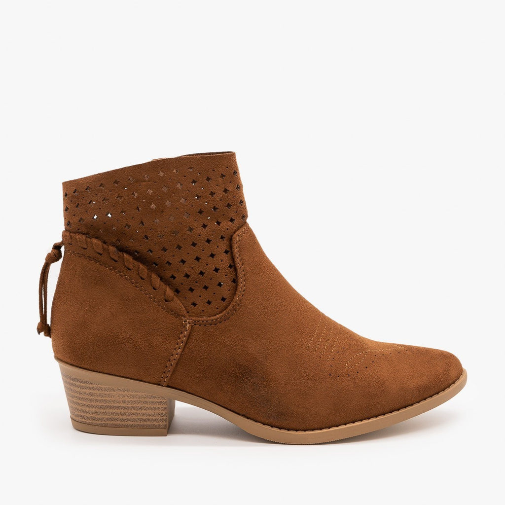 Womens Western Laser-Cut Booties - Soda Shoes - Cognac / 5