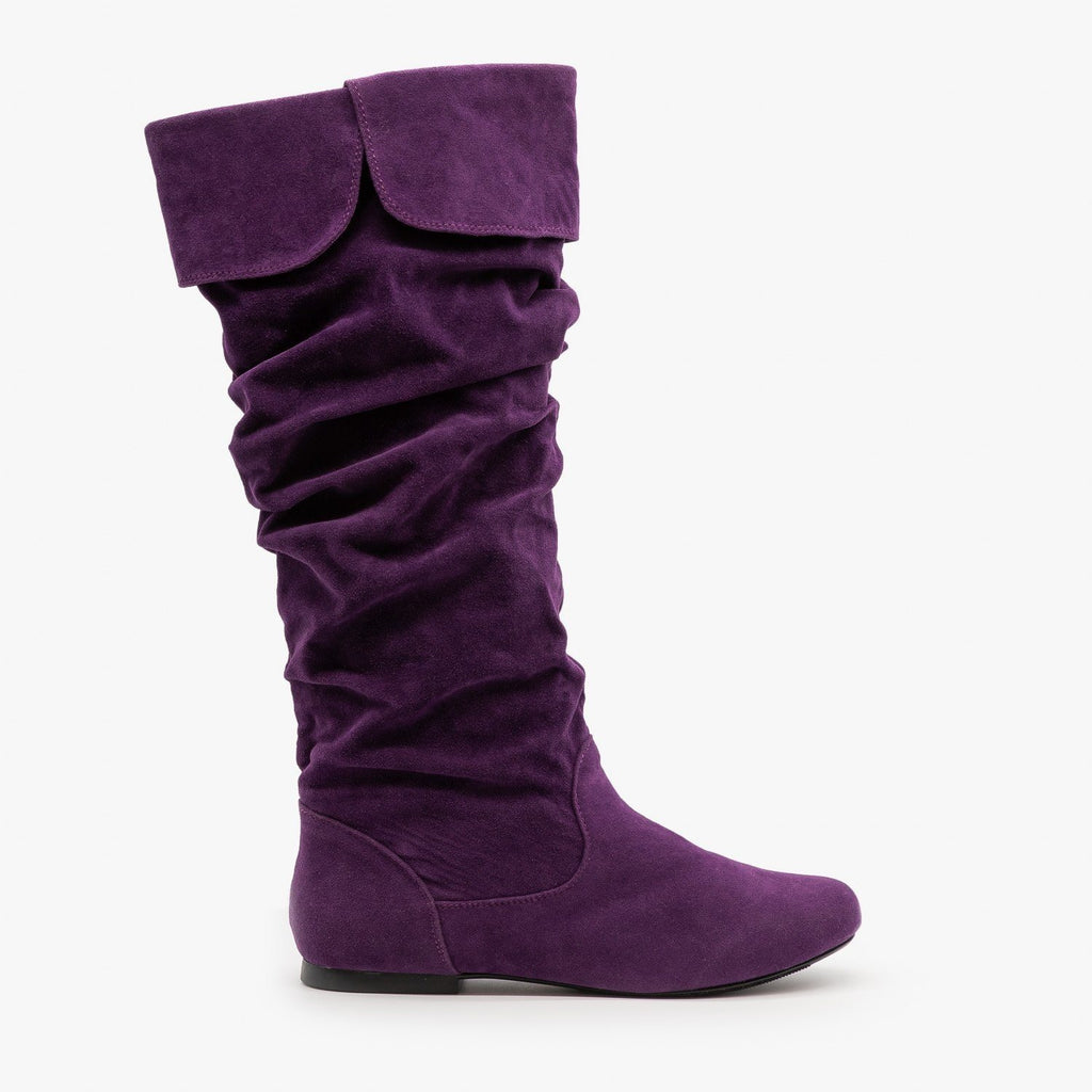 Womens Whimsical Slouchy Boots - Qupid Shoes - Purple / 5