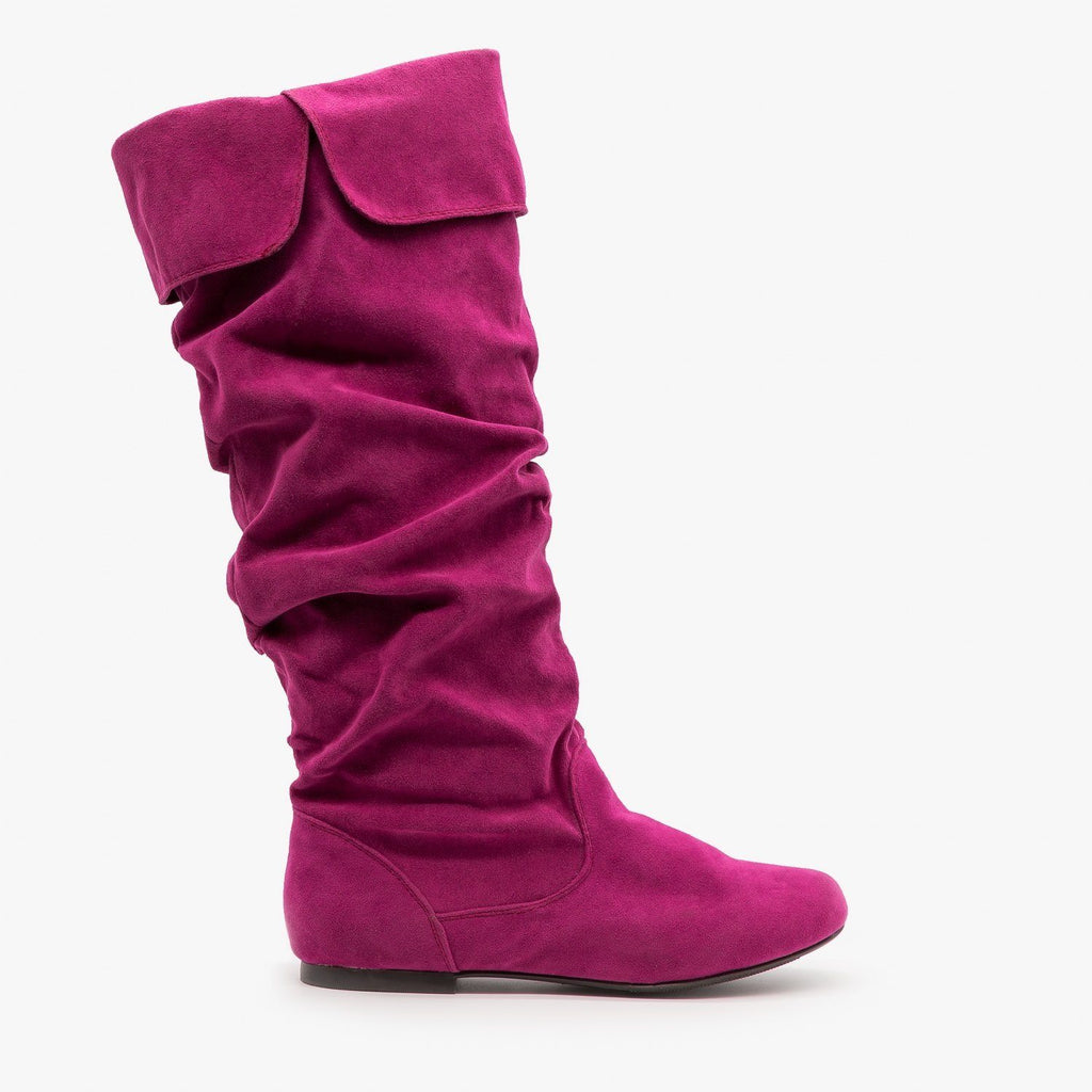 Womens Whimsical Slouchy Boots - Qupid Shoes - Berry / 5