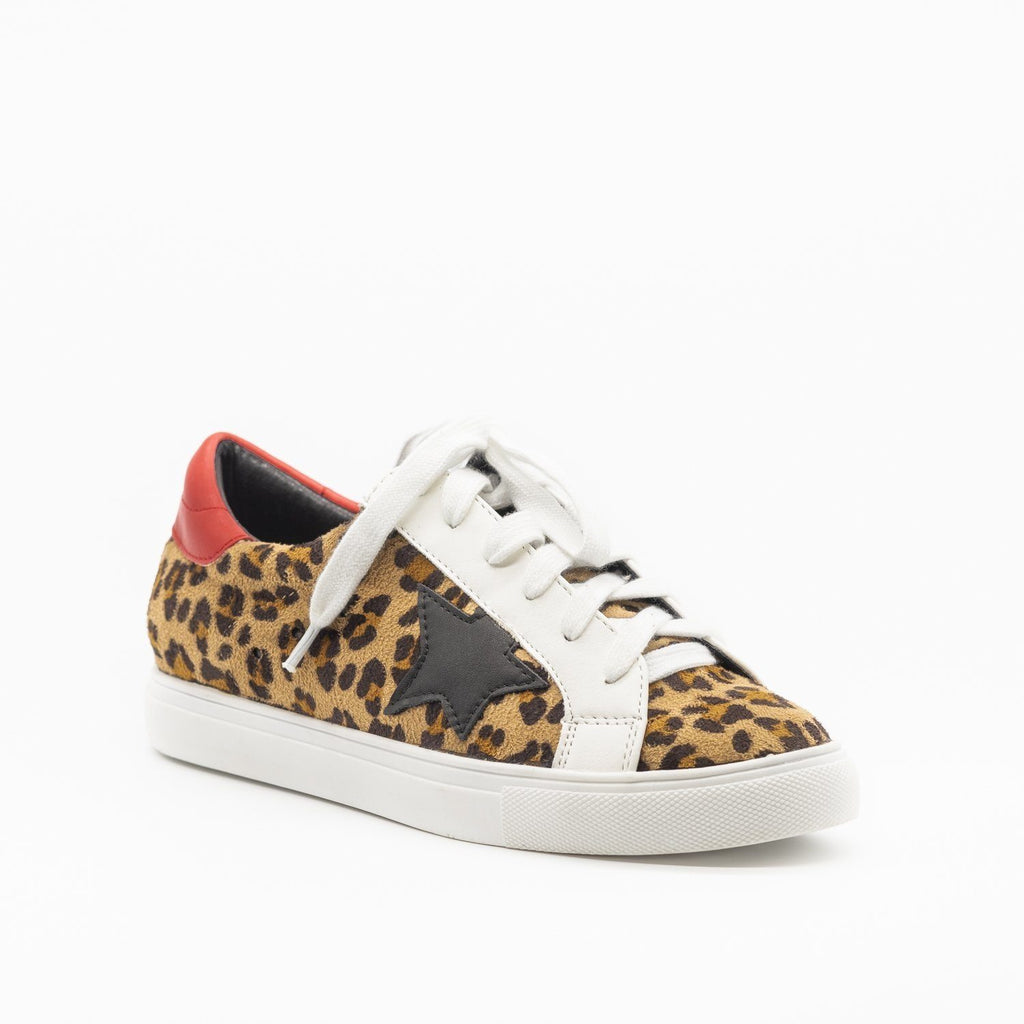 Womens Wild Leopard Print Fashion Sneakers - Nature Breeze - Leopard / 5