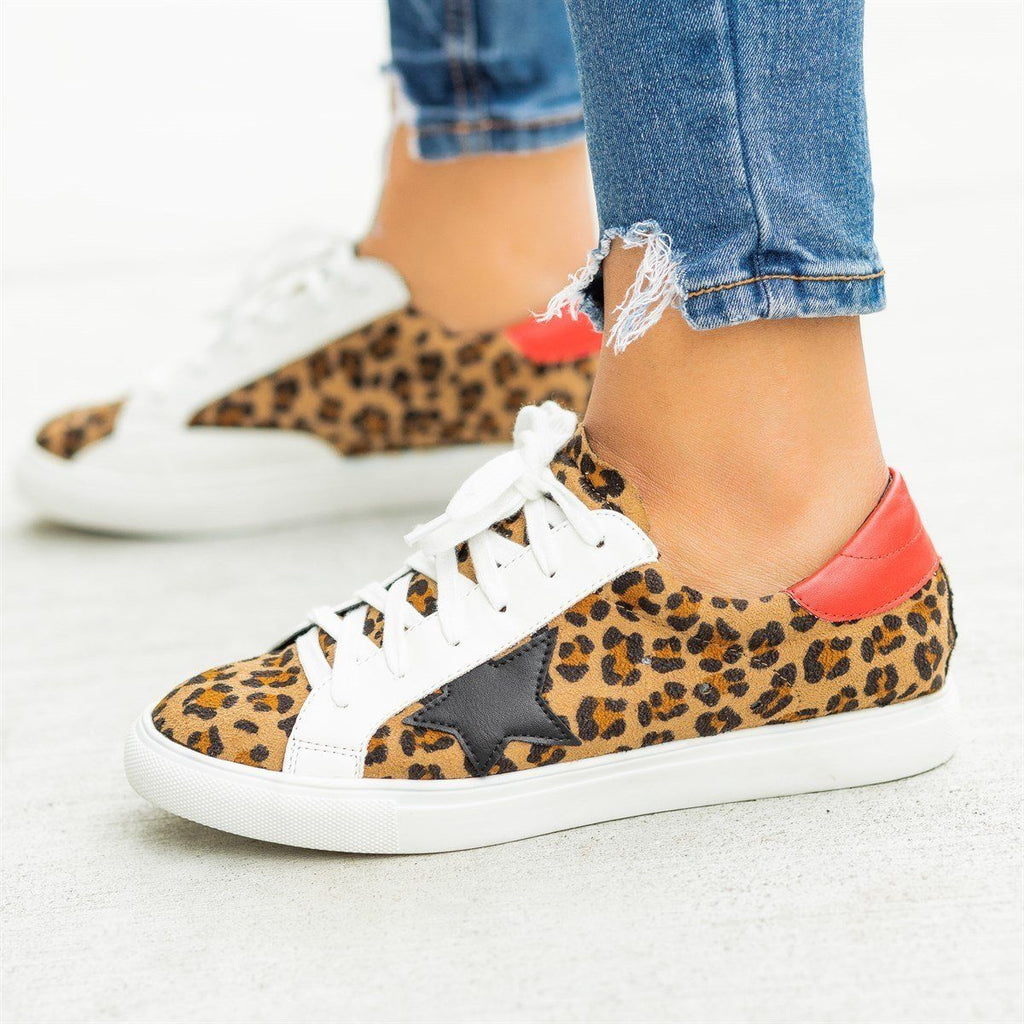Womens Wild Leopard Print Fashion Sneakers - Nature Breeze