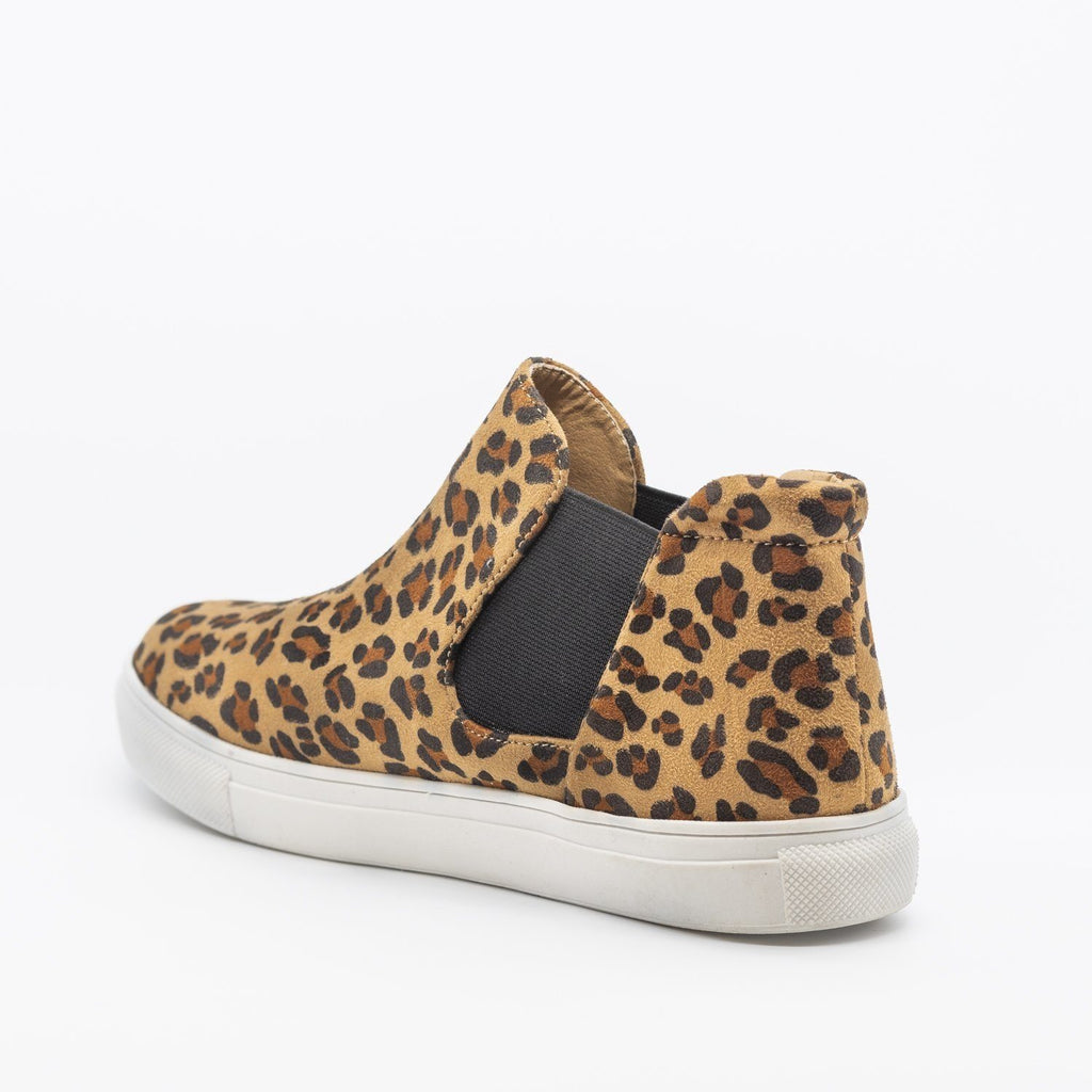 Womens Wild Leopard Print Slip-On Ankle Sneakers - Soho Girls